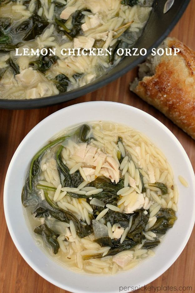 Easy Recipes For Rotisserie Chicken - Lemon Chicken Orzo Soup - Healthy Recipe Ideas for Leftovers - Comfort Foods With Chicken - Low Carb and Gluten Free, Crock Pot Meals, Appetizers, Salads, Sour Cream Enchiladas, Pasta, One Pot Meals and Casseroles for Quick Dinners http://diyjoy.com/recipes-rotisserie-chicken