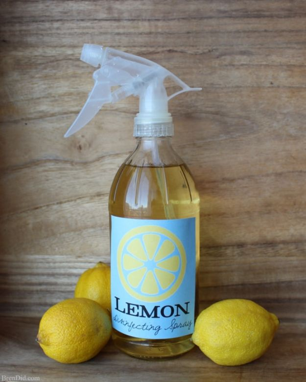Homemade Cleaning Products - Lemon Infused Disinfectant Spray Cleaner - DIY Cleaners With Recipe and Tutorial - Make DIY Natural and ll Purpose Cleaner Recipes for Home With Vinegar, Essential Oils