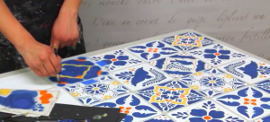 She Stencils Mexican Talavera Tiles By Starting With An Old Kitchen Table. Learn How!