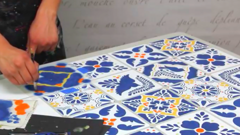 She Stencils Mexican Talavera Tiles By Starting With An