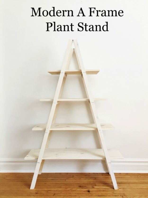DIY Plant Hangers - Modern A Frame Plant Stand - Cute and Easy Home Decor Ideas for Plants - How To Make Planters, Hanging Pot Holders, Wire, Rope and Baskets - Quick DIY Gifts Ideas, Macrame Plant Hanger #gardening #plants #diyideas