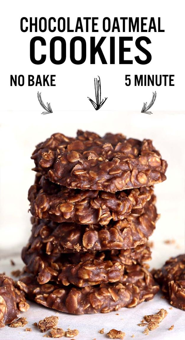 Quick Dessert Recipes - No Bake Chocolate Oatmeal Cookies Recipe - Fast Desserts to Make In Minutes - Sweet Treats, Cookies, Cake and Snack Ideas