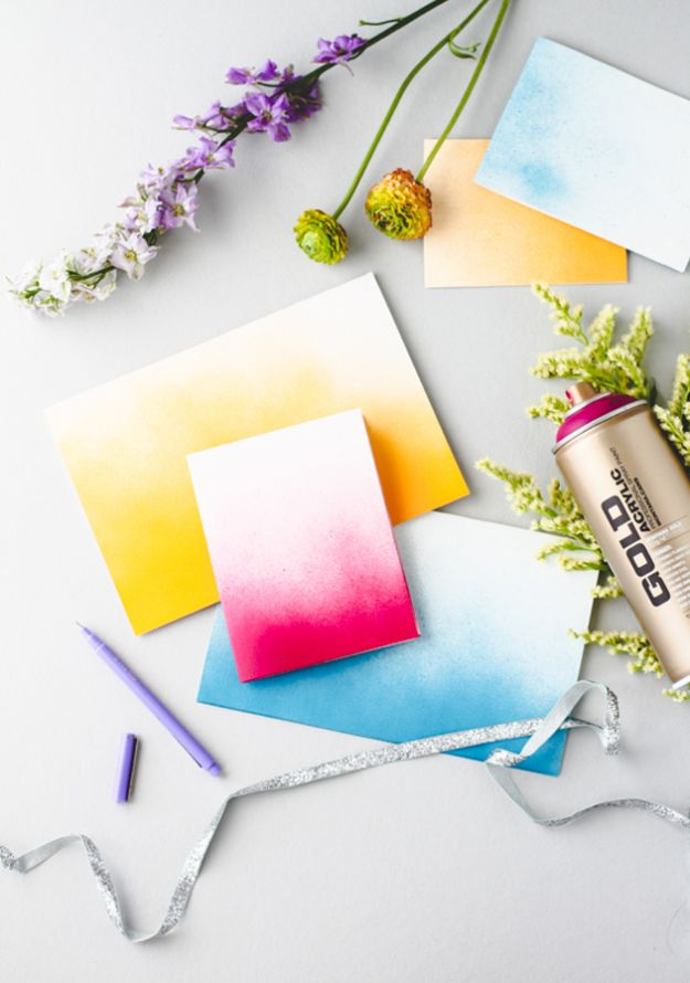 DIY Stationery Ideas - Ombre Spray Paint Cards - Easy Projects for Making, Decorating and Embellishing Stationary - Cute Personal Papers and Cards With Creative Art Ideas and Designs - Monogram and Brush Lettering Tips and Tutorials for Envelopes and Notebook - Stencil, Marble, Paint and Ink, Emboss Tutorials - A Handmade Card Set or Box Makes An Awesome DIY Gift Idea - Printables and Cool Ideas for Kids http://diyjoy.com/diy-stationery-ideas