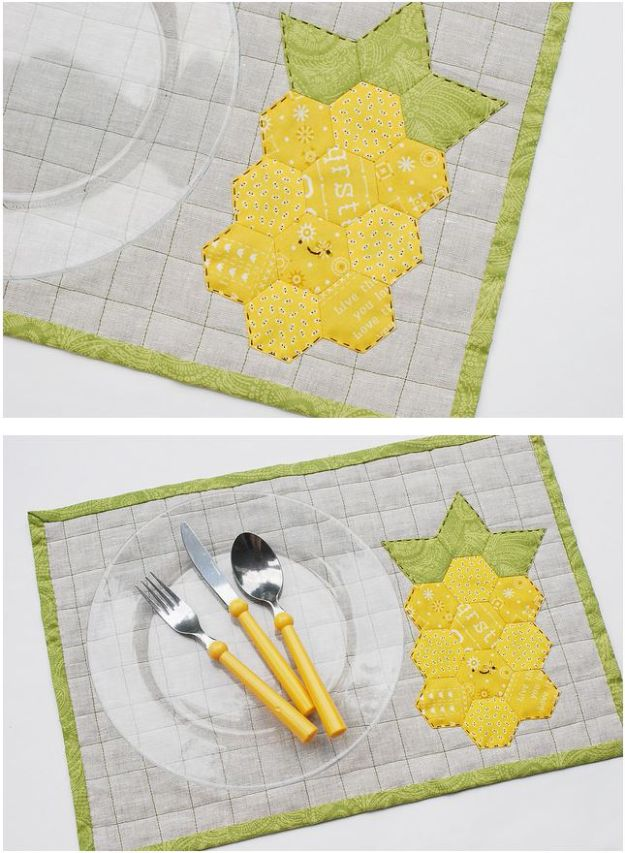 Cool Things To Sew For Summer - Pineapple Quilt Placemat - Easy Dresses, Cute Skirts, Maxi Dress, Shorts, Pants and Tops