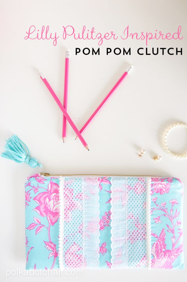 Cool Things To Sew For Summer - Pom Pom Summer Clutch - Easy Dresses, Cute Skirts, Maxi Dress, Shorts, Pants and Tops