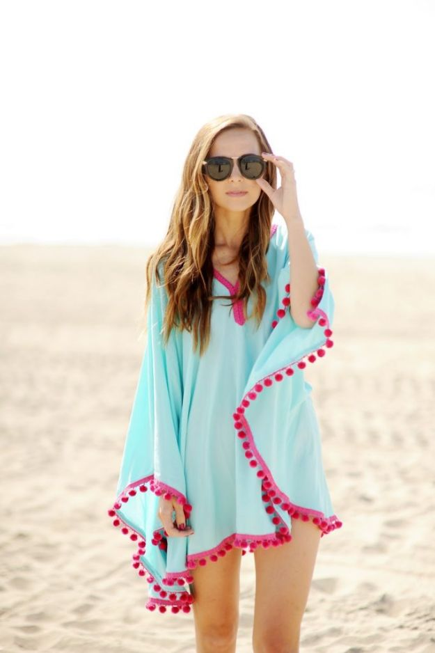 Cool Things To Sew For Summer - Pom Pom Trim Beach Cover Up - Easy Dresses, Cute Skirts, Maxi Dress, Shorts, Pants and Tops