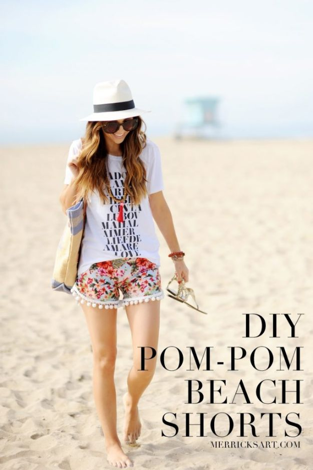 Cool Things To Sew For Summer -Pom-pom Beach Shorts - Easy Dresses, Cute Skirts, Maxi Dress, Shorts, Pants and Tops