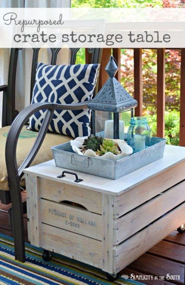 Repurposed Crate Storage Table - Budget Friendly Coffee Tables - Rustic DIY Living Room Furniture