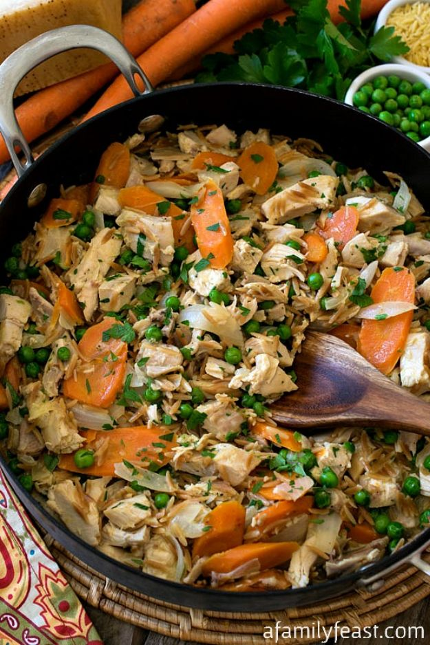 Easy Recipes For Rotisserie Chicken - Rotisserie Chicken Skillet - Healthy Recipe Ideas for Leftovers - Comfort Foods With Chicken - Low Carb and Gluten Free, Crock Pot Meals, Appetizers, Salads, Sour Cream Enchiladas, Pasta, One Pot Meals and Casseroles for Quick Dinners http://diyjoy.com/recipes-rotisserie-chicken