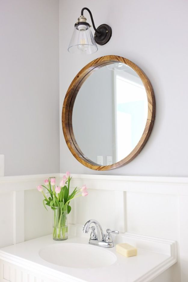 DIY Modern Home Decor - Round Wood Mirror DIY - Room Ideas, Wall Art on A Budget, Farmhouse Style Projects - Easy DIY Ideas and Decorations for Apartments, Living Room, Bedroom, Kitchen and Bath - Fixer Upper Tips and Tricks