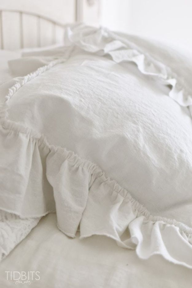 All White DIY Room Decor - Ruffle Pillow Sham - Creative Home Decor Ideas for the Bedroom and Living Room, Kitchen and Bathroom - Do It Yourself Crafts and White Wall Art, Bedding, Curtains, Lamps, Lighting, Rugs and Accessories - Easy Room Decoration Ideas for Modern, Vintage Farmhouse and Minimalist Furnishings - Furniture, Wall Art and DIY Projects With Step by Step Tutorials and Instructions #diydecor