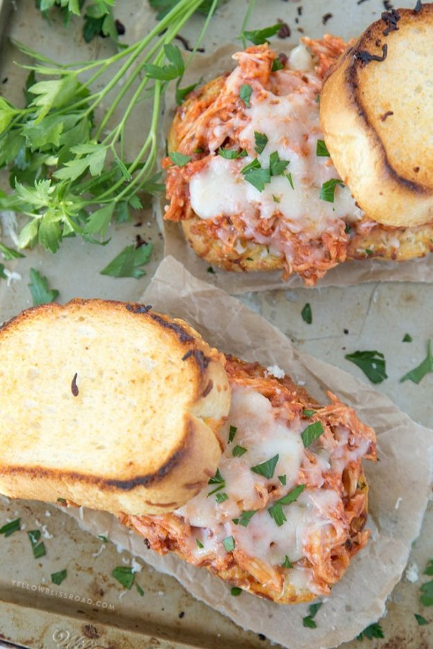 Easy Recipes For Rotisserie Chicken - Shredded Chicken Parmesan Sandwich - Healthy Recipe Ideas for Leftovers - Comfort Foods With Chicken - Low Carb and Gluten Free, Crock Pot Meals, Appetizers, Salads, Sour Cream Enchiladas, Pasta, One Pot Meals and Casseroles for Quick Dinners http://diyjoy.com/recipes-rotisserie-chicken