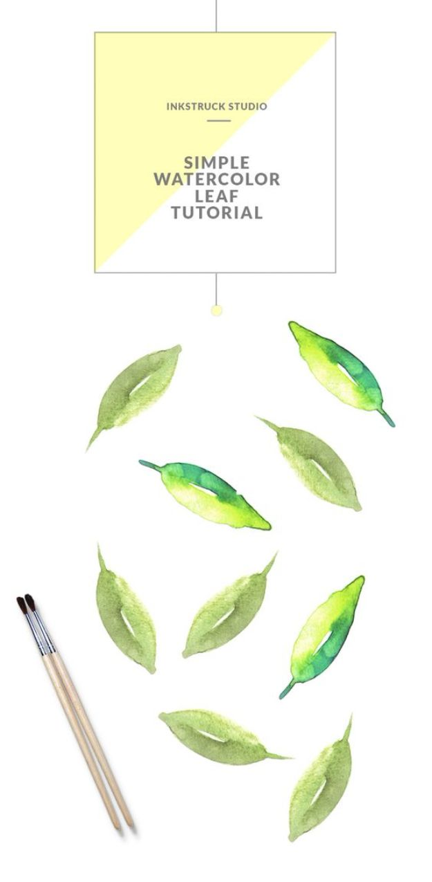 Watercolor Tutorials and Techniques - Simple Watercolor Leaf Tutorial - How To Paint With Watercolor - Make Watercolor Flowers, Ocean, Sky, Abstract People, Landscapes, Buildings, Animals, Portraits, Sunset - Step by Step Art Lessons for Beginners - Easy Video Tutorials and How To for Watercolors and Paint Washes #art