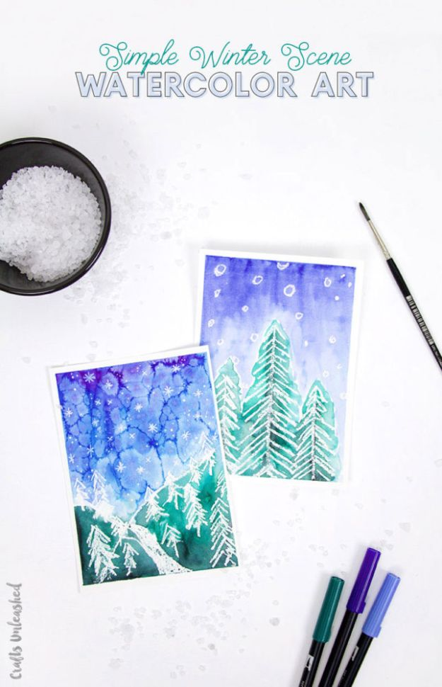 Watercolor Tutorials and Techniques - Simple Winter Watercolor Art Tutorial - How To Paint With Watercolor - Make Watercolor Flowers, Ocean, Sky, Abstract People, Landscapes, Buildings, Animals, Portraits, Sunset - Step by Step Art Lessons for Beginners - Easy Video Tutorials and How To for Watercolors and Paint Washes #art