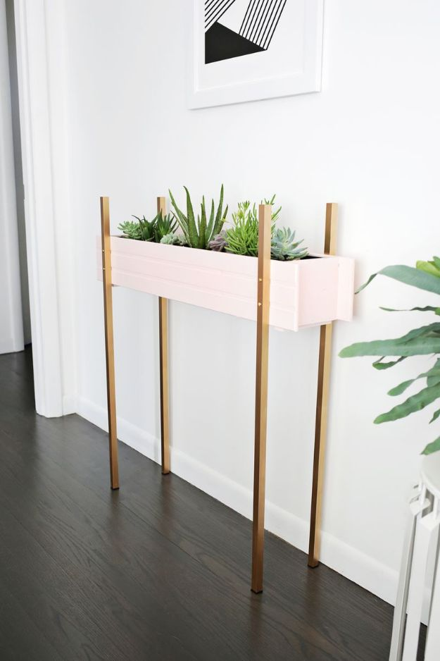 DIY Plant Hangers - Skinny Planter Stand DIY - Cute and Easy Home Decor Ideas for Plants - How To Make Planters, Hanging Pot Holders, Wire, Rope and Baskets - Quick DIY Gifts Ideas, Macrame Plant Hanger http://diyjoy.com/diy-plant-hangers-stands
