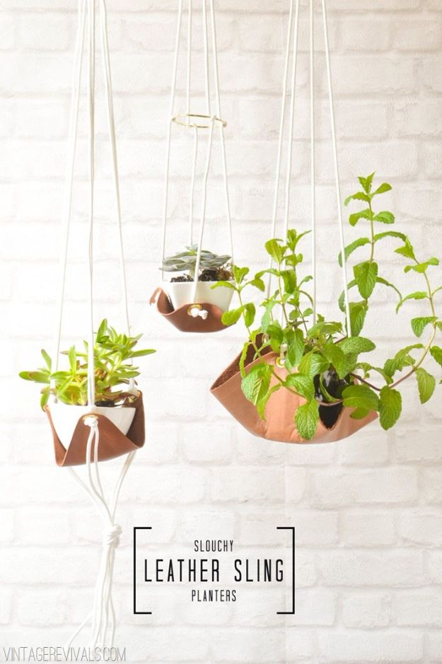 DIY Plant Hangers - Slouchy Leather Sling Planter - Cute and Easy Home Decor Ideas for Plants - How To Make Planters, Hanging Pot Holders, Wire, Rope and Baskets - Quick DIY Gifts Ideas, Macrame Plant Hanger http://diyjoy.com/diy-plant-hangers-stands