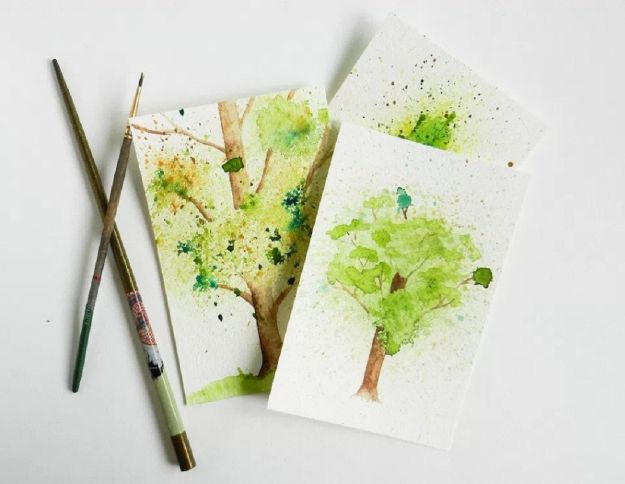 Watercolor Tutorials and Techniques - Spatter Watercolor Tree Tutorial - Make Watercolor Flowers, Ocean, Sky, Abstract People, Landscapes, Buildings, Animals, Portraits, Sunset - Step by Step Art Lessons for Beginners - Easy Video Tutorials and How To for Watercolors and Paint Washes #art
