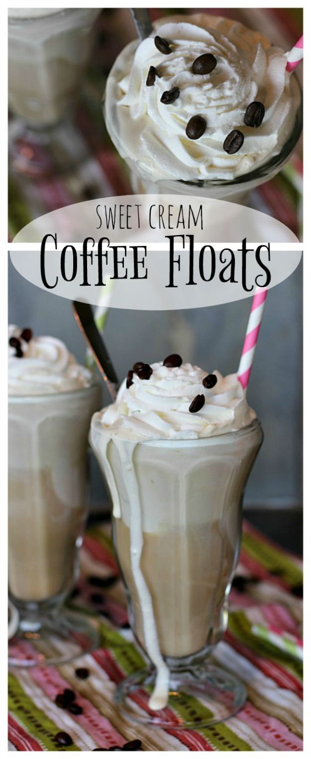 Coffee Drink Recipes - Sweet Cream Coffee Floats - Easy Drinks and Coffees To Make At Home - Frozen, Iced, Cold Brew and Hot Coffee Recipe Ideas - Sugar Free, Low Fat and Blended Drinks - Mocha, Frappucino, Caramel, Chocolate, Latte and Americano - Flavored Coffee, Liqueur and After Dinner Drinks With Alcohol, Dessert Ideas for Parties #coffeedrinks #coffeerecipes #coffee #drinkrecipes