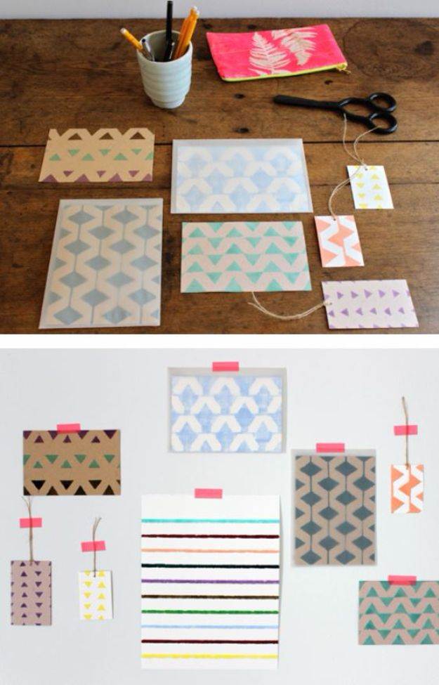 DIY Stationery Ideas - Tape Stencil Stationery - Easy Projects for Making, Decorating and Embellishing Stationary - Cute Personal Papers and Cards With Creative Art Ideas and Designs - Monogram and Brush Lettering Tips and Tutorials for Envelopes and Notebook - Stencil, Marble, Paint and Ink, Emboss Tutorials - A Handmade Card Set or Box Makes An Awesome DIY Gift Idea - Printables and Cool Ideas for Kids http://diyjoy.com/diy-stationery-ideas