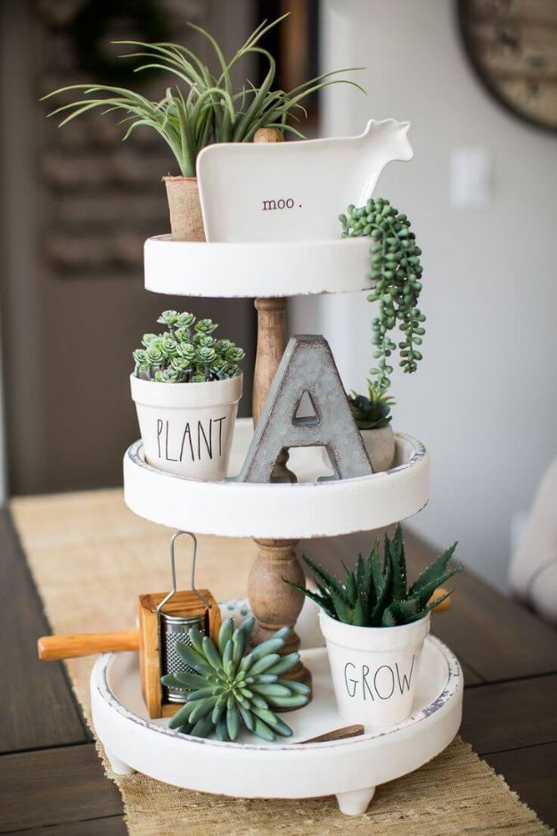 All White DIY Room Decor - Tiered Succulent Garden with Knickknacks - Creative Home Decor Ideas for the Bedroom and Living Room, Kitchen and Bathroom - Do It Yourself Crafts and White Wall Art, Bedding, Curtains, Lamps, Lighting, Rugs and Accessories - Easy Room Decoration Ideas for Modern, Vintage Farmhouse and Minimalist Furnishings - Furniture, Wall Art and DIY Projects With Step by Step Tutorials and Instructions #diydecor