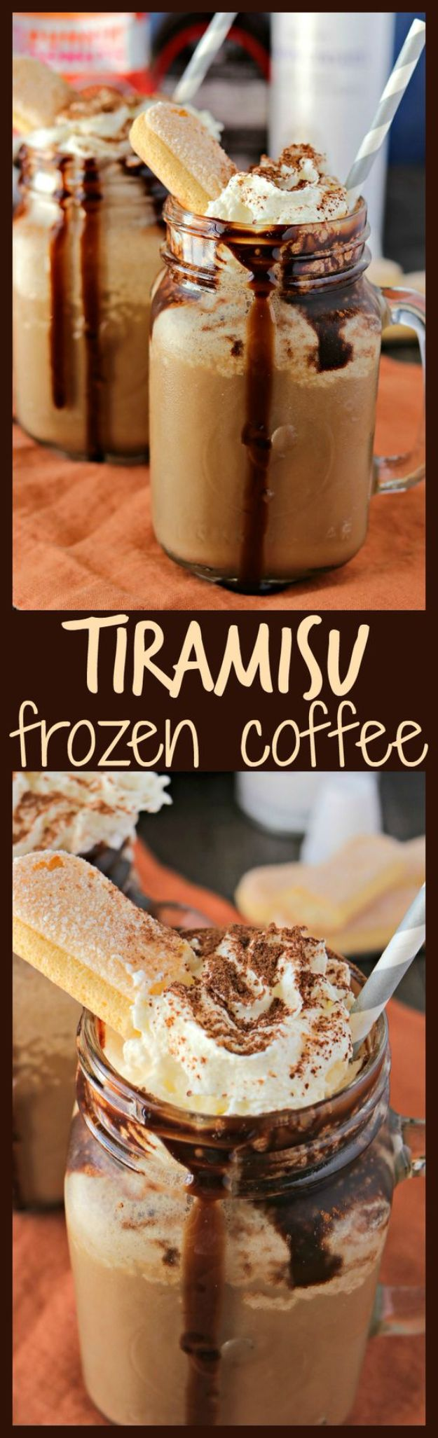 Coffee Drink Recipes - Tiramisu Frozen Coffee - Easy Drinks and Coffees To Make At Home - Frozen, Iced, Cold Brew and Hot Coffee Recipe Ideas - Sugar Free, Low Fat and Blended Drinks - Mocha, Frappucino, Caramel, Chocolate, Latte and Americano - Flavored Coffee, Liqueur and After Dinner Drinks With Alcohol, Dessert Ideas for Parties #coffeedrinks #coffeerecipes #coffee #drinkrecipes