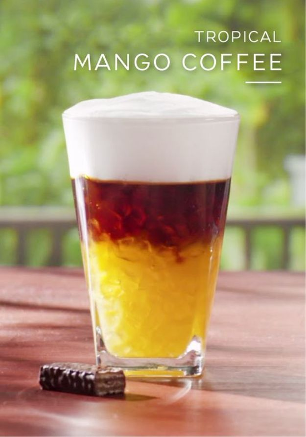Coffee Drink Recipes - Tropical Mango Coffee - Easy Drinks and Coffees To Make At Home - Frozen, Iced, Cold Brew and Hot Coffee Recipe Ideas - Sugar Free, Low Fat and Blended Drinks - Mocha, Frappucino, Caramel, Chocolate, Latte and Americano - Flavored Coffee, Liqueur and After Dinner Drinks With Alcohol, Dessert Ideas for Parties #coffeedrinks #coffeerecipes #coffee #drinkrecipes