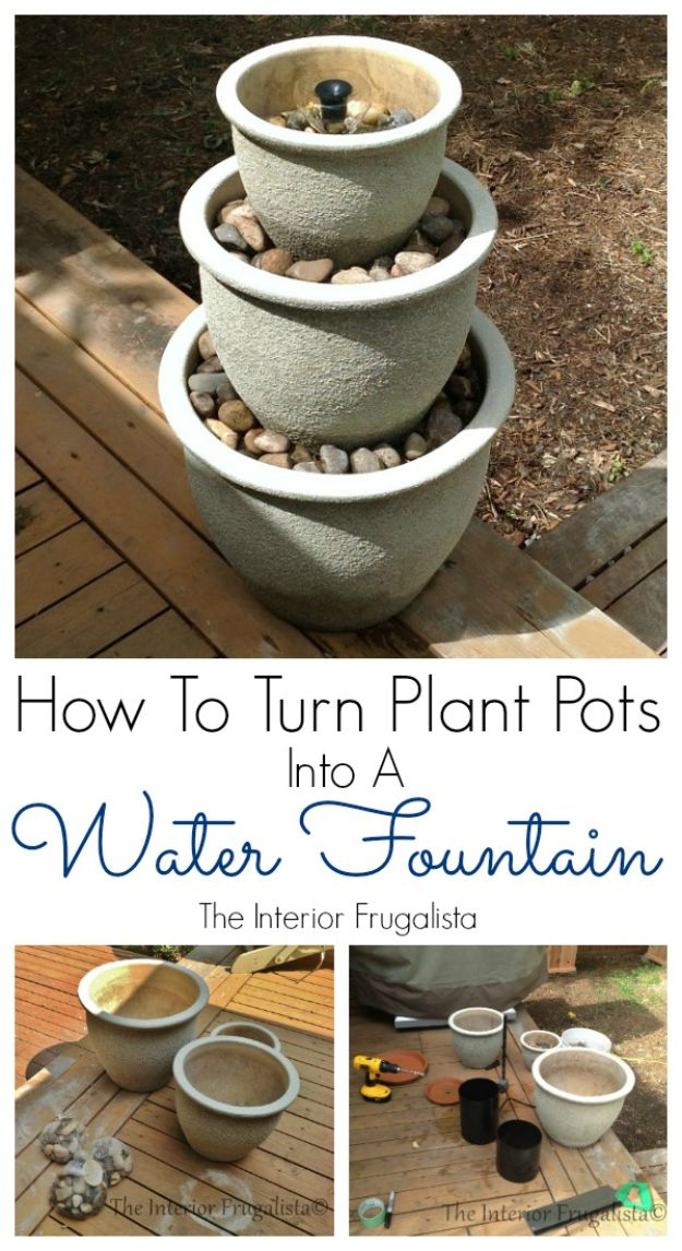 DIY Fountains - Turn Plant Pots Into A Water Fountain - Easy Ways to Make A Fountain in the Backyard - Do It Yourself Projects for the Garden - DIY Home Improvement on a Budget - Step by Step DIY Tutorials With Instructions http://diyjoy.com/diy-fountains