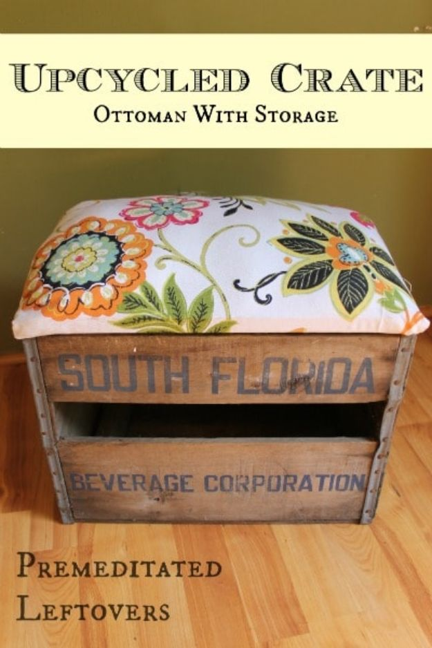 Upcycled Crate Ottoman With Storage