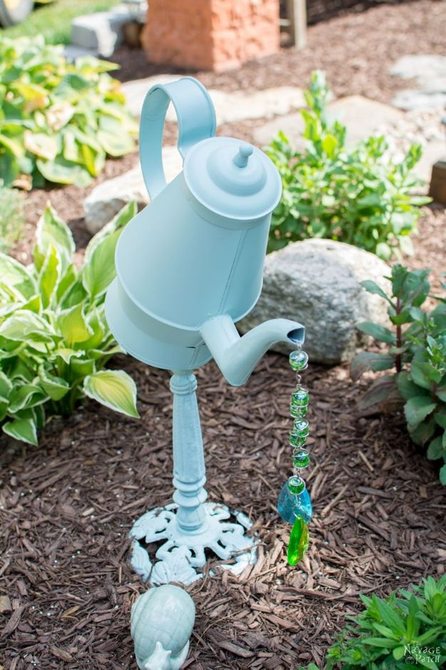 DIY Garden Decor Ideas - Crafts for Outdoors - DYI Garden Ornaments to Make for Backyard Decoration - Thrift Store Crafts - How to Make Upcycled Teapot Garden Decor