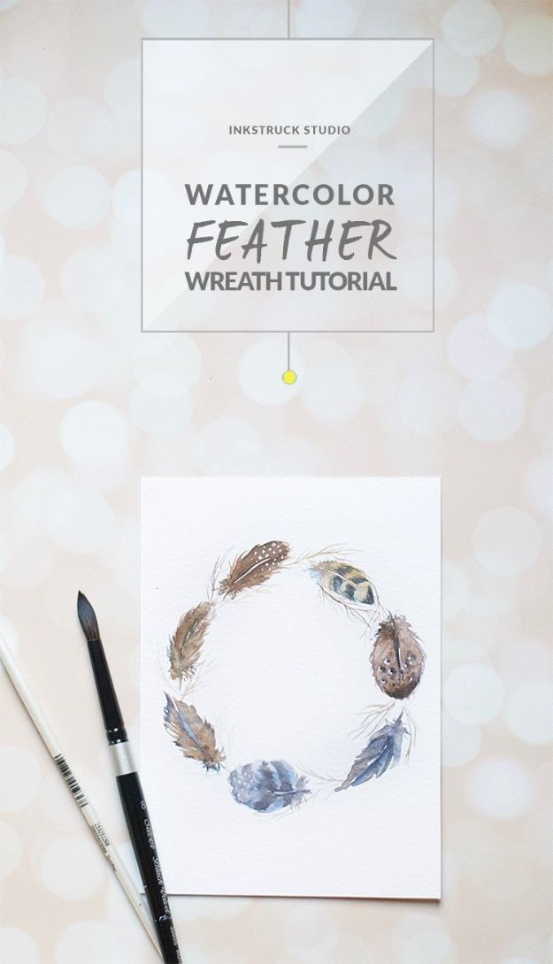 Watercolor Tutorials and Techniques - Watercolor Feather Wreath Tutorial - Make Watercolor Flowers, Ocean, Sky, Abstract People, Landscapes, Buildings, Animals, Portraits, Sunset - Step by Step Art Lessons for Beginners - Easy Video Tutorials and How To for Watercolors and Paint Washes #art