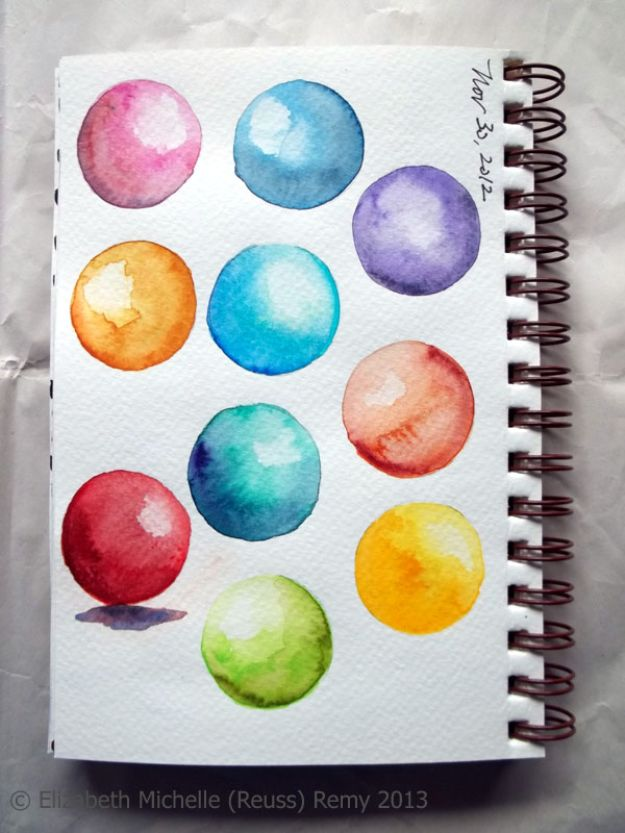 Watercolor Tutorials and Techniques - Watercolor Shaded Spheres - How To Paint With Watercolor - Make Watercolor Flowers, Ocean, Sky, Abstract People, Landscapes, Buildings, Animals, Portraits, Sunset - Step by Step Art Lessons for Beginners - Easy Video Tutorials and How To for Watercolors and Paint Washes #art #watercolor #diyart #artlessons #painting http://diyjoy.com/watercolor-tutorials