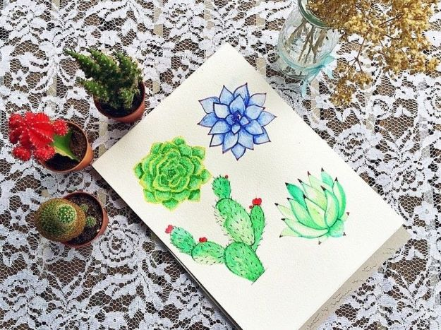 Watercolor Tutorials and Techniques - Watercolor Succulent Tutorial - Make Watercolor Flowers, Ocean, Sky, Abstract People, Landscapes, Buildings, Animals, Portraits, Sunset - Step by Step Art Lessons for Beginners - Easy Video Tutorials and How To for Watercolors and Paint Washes #art