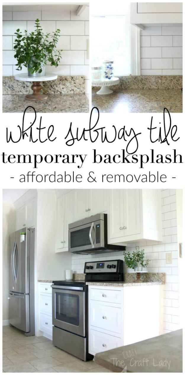 All White DIY Room Decor - White Subway Tile Temporary Backsplash - Creative Home Decor Ideas for the Bedroom and Living Room, Kitchen and Bathroom - Do It Yourself Crafts and White Wall Art, Bedding, Curtains, Lamps, Lighting, Rugs and Accessories - Easy Room Decoration Ideas for Modern, Vintage Farmhouse and Minimalist Furnishings - Furniture, Wall Art and DIY Projects With Step by Step Tutorials and Instructions #diydecor