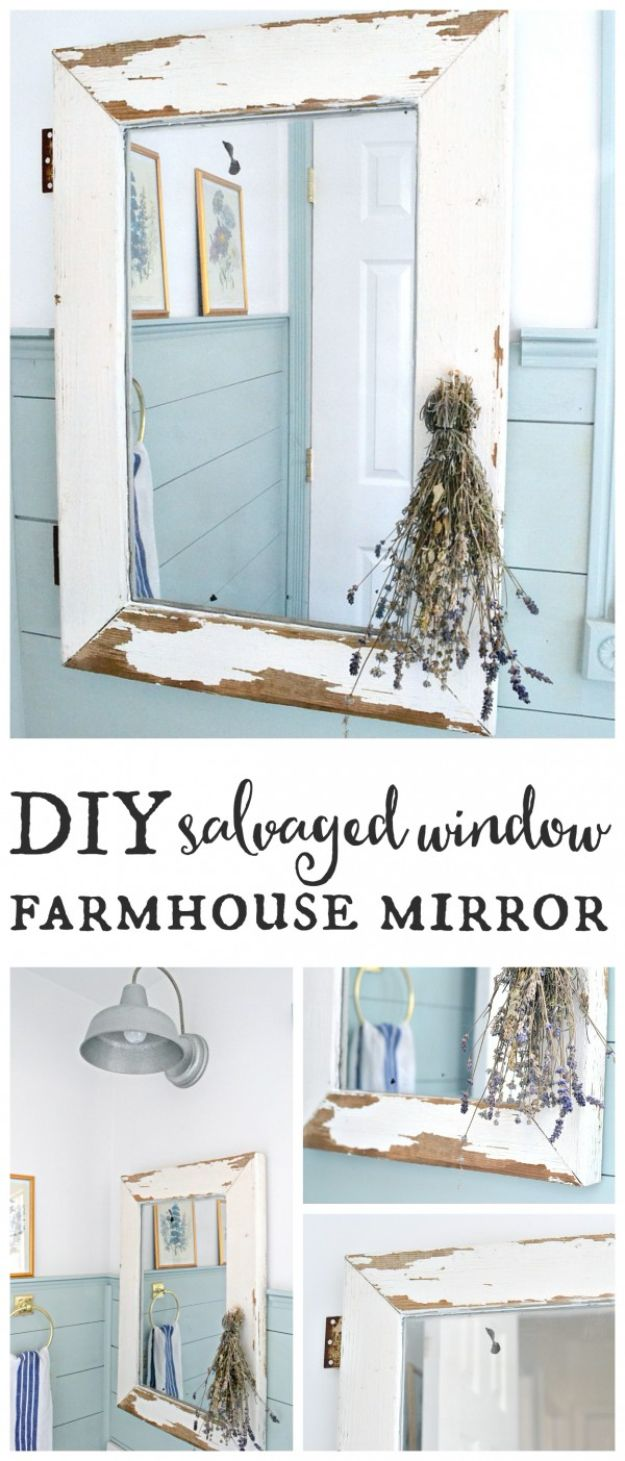 All White DIY Room Decor - Window Farmhouse Mirror - Creative Home Decor Ideas for the Bedroom and Living Room, Kitchen and Bathroom - Do It Yourself Crafts and White Wall Art, Bedding, Curtains, Lamps, Lighting, Rugs and Accessories - Easy Room Decoration Ideas for Modern, Vintage Farmhouse and Minimalist Furnishings - Furniture, Wall Art and DIY Projects With Step by Step Tutorials and Instructions #diydecor