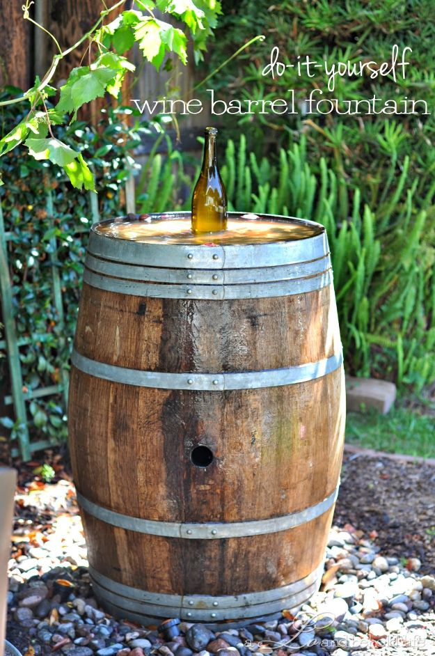 DIY Fountains - Wine Barrel Fountain - Easy Ways to Make A Fountain in the Backyard - Do It Yourself Projects for the Garden - DIY Home Improvement on a Budget - Step by Step DIY Tutorials With Instructions http://diyjoy.com/diy-fountains