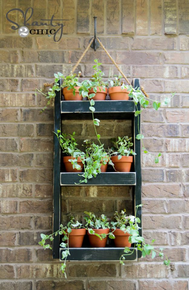 DIY Plant Hangers - Wood Planter Hang For The Wall - Cute and Easy Home Decor Ideas for Plants - How To Make Planters, Hanging Pot Holders, Wire, Rope and Baskets - Quick DIY Gifts Ideas, Macrame Plant Hanger #gardening #plants #diyideas