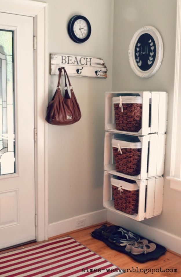 Wooden Crate Entryway Shelves
