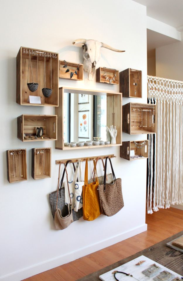 Gallery Wall Ideas - DIY Farmhouse Decor Projects - Wooden Crate Wall Art And Shelving In One