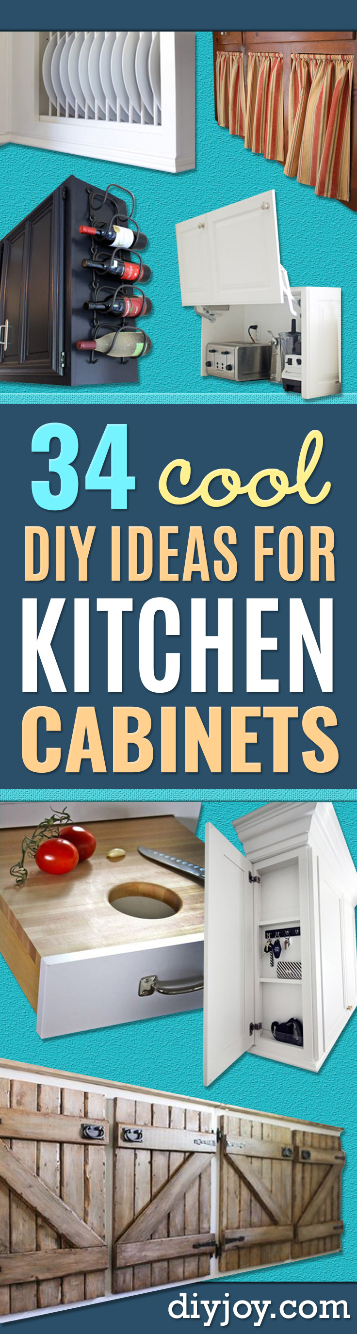 DIY Kitchen Cabinet Ideas - Makeover and Before and After - How To Build, Plan and Renovate Your Kitchen Cabinets - Painted, Cheap Refact, Free Plans, Rustic Decor, Farmhouse and Vintage Looks, Modern Design and Inexpensive Budget Friendly Projects http://diyjoy.com/diy-kitchen-cabinets