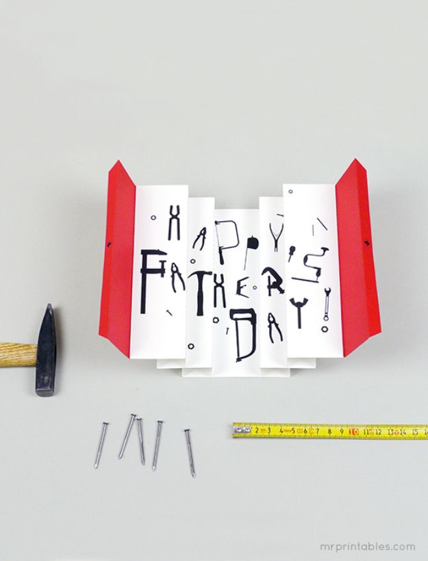 Best DIY Fathers Day Cards - 3D Tool Box Card for Father's Day - Easy Card Projects to Make for Dad - Cute and Quick Things To Make For Your Father - Paper, Cardboard, Gift Card, Cool Ideas for Kids and Teens To Make - Funny, Thoughtful, Homemade Cards for Him http://diyjoy.com/diy-fathers-day-cards