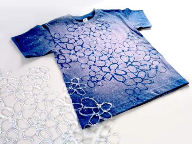 DIY Fashion for Spring - Bleached, Hot Glue Stenciled Batik-Effect Shirt - Easy Homemade Clothing Tutorials and Things To Make To Wear - Cute Patterns and Projects for Women to Make, T-Shirts, Skirts, Dresses, Shorts and Ideas for Jeans and Pants - Tops, Tanks and Tees With Free Tutorial Ideas and Instructions http://diyjoy.com/fashion-for-spring