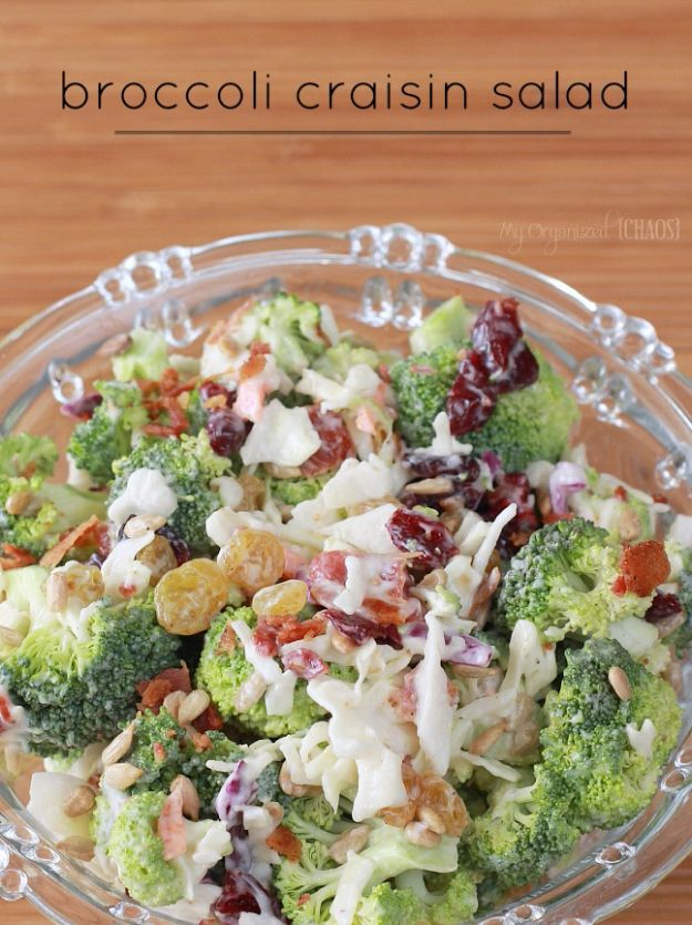 Summer Salad Recipes - Broccoli Craisin Salad - Easy Salads to Make for Summer Dinners, Picnic, Barbecue and Take To Work Lunches - Grilled Foods, Fruits, Chicken, Tuna and and Shrimp Salad - Healthy Meals on A Budget - Vegetarian and Vegan Recipe Ideas - Homemade Salad Dressings and Fresh Ingredients make the Best Salads #salads #saladrecipes #lunchrecipes #recipes #summe