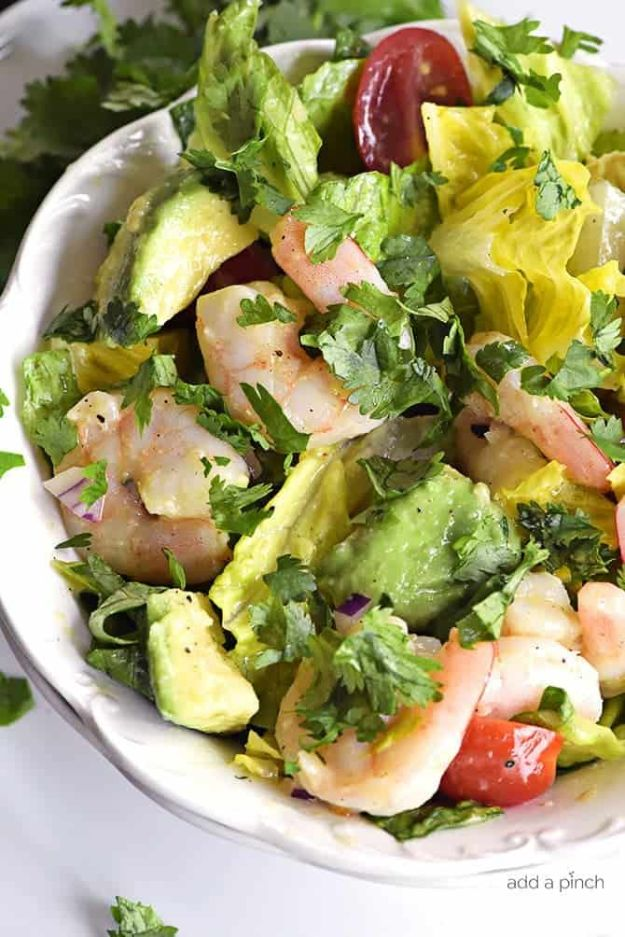 Summer Salad Recipes - Cilantro Lime Shrimp Avocado Salad- Easy Salads to Make for Summer Dinners, Picnic, Barbecue and Take To Work Lunches - Grilled Foods, Fruits, Chicken, Tuna and and Shrimp Salad - Healthy Meals on A Budget - Vegetarian and Vegan Recipe Ideas - Homemade Salad Dressings and Fresh Ingredients make the Best Salads #salads #saladrecipes #lunchrecipes #recipes #summer http://diyjoy.com/summer-salad-recipes