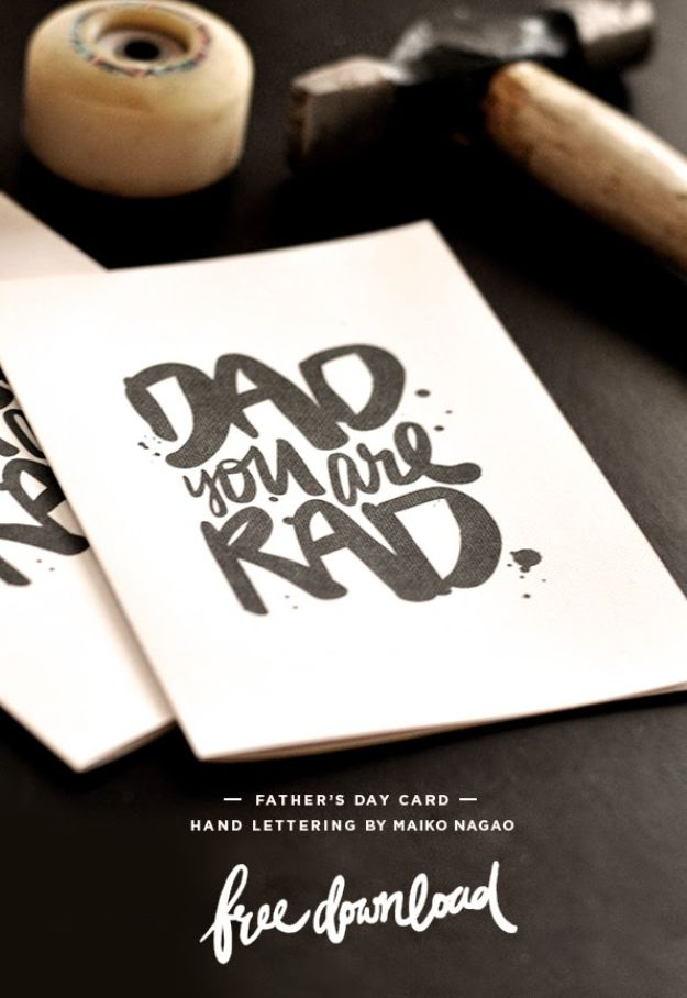 Best DIY Fathers Day Cards - DAD you are RAD Father's Day Card - Easy Card Projects to Make for Dad - Cute and Quick Things To Make For Your Father - Paper, Cardboard, Gift Card, Cool Ideas for Kids and Teens To Make - Funny, Thoughtful, Homemade Cards for Him http://diyjoy.com/diy-fathers-day-cards