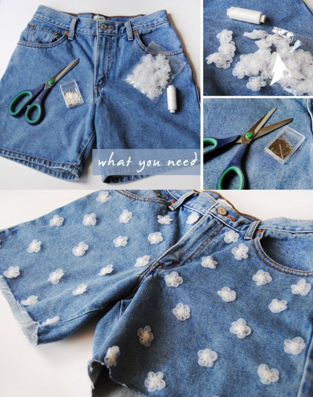 DIY Fashion for Spring - DIY Daisy Denim Shorts - Easy Homemade Clothing Tutorials and Things To Make To Wear - Cute Patterns and Projects for Women to Make, T-Shirts, Skirts, Dresses, Shorts and Ideas for Jeans and Pants - Tops, Tanks and Tees With Free Tutorial Ideas and Instructions http://diyjoy.com/fashion-for-spring