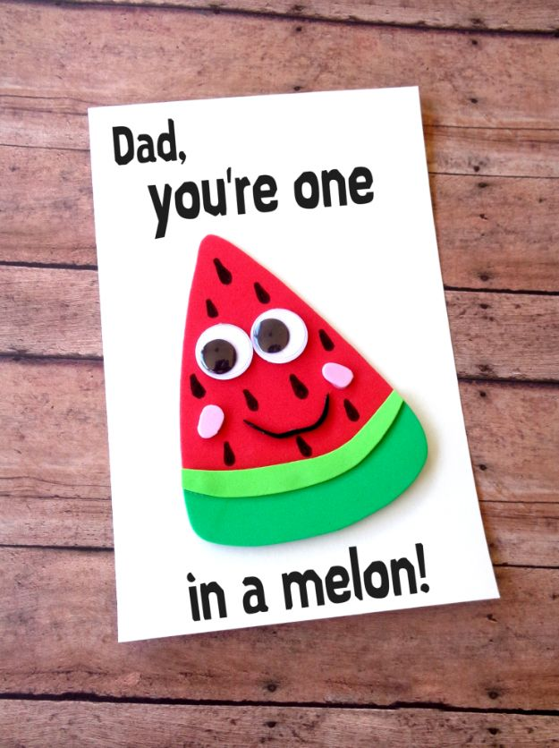 Best DIY Fathers Day Cards - DIY Father's Day Watermelon Card - Easy Card Projects to Make for Dad - Cute and Quick Things To Make For Your Father - Paper, Cardboard, Gift Card, Cool Ideas for Kids and Teens To Make - Funny, Thoughtful, Homemade Cards for Him http://diyjoy.com/diy-fathers-day-cards