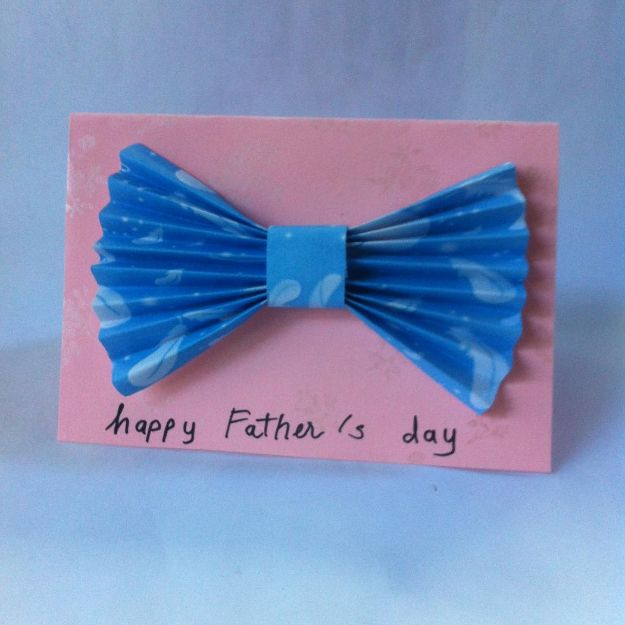Best DIY Fathers Day Cards - DIY Paper Bow Tie Father's Day Card - Easy Card Projects to Make for Dad - Cute and Quick Things To Make For Your Father - Paper, Cardboard, Gift Card, Cool Ideas for Kids and Teens To Make - Funny, Thoughtful, Homemade Cards for Him http://diyjoy.com/diy-fathers-day-cards
