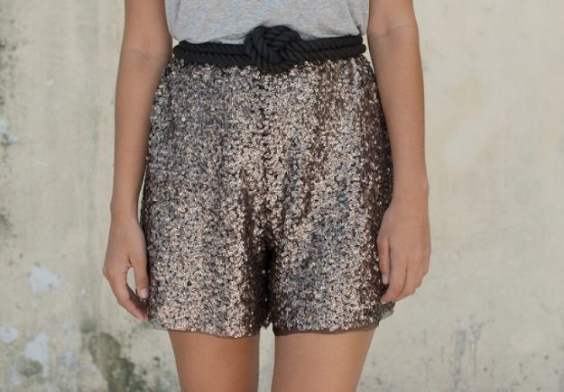 DIY Fashion for Spring - DIY Sequin Shorts - Easy Homemade Clothing Tutorials and Things To Make To Wear - Cute Patterns and Projects for Women to Make, T-Shirts, Skirts, Dresses, Shorts and Ideas for Jeans and Pants - Tops, Tanks and Tees With Free Tutorial Ideas and Instructions http://diyjoy.com/fashion-for-spring