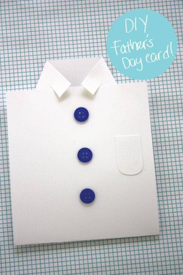 Best DIY Fathers Day Cards - DIY Shirt Father's Day Card - Easy Card Projects to Make for Dad - Cute and Quick Things To Make For Your Father - Paper, Cardboard, Gift Card, Cool Ideas for Kids and Teens To Make - Funny, Thoughtful, Homemade Cards for Him http://diyjoy.com/diy-fathers-day-cards