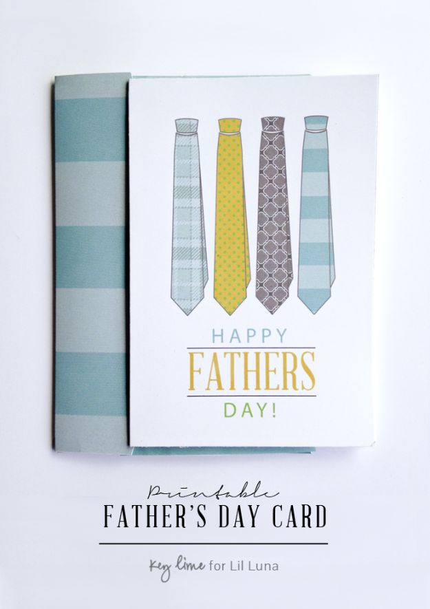 Best DIY Fathers Day Cards - DIY Tie Printable Father's Day Card- Easy Card Projects to Make for Dad - Cute and Quick Things To Make For Your Father - Paper, Cardboard, Gift Card, Cool Ideas for Kids and Teens To Make - Funny, Thoughtful, Homemade Cards for Him http://diyjoy.com/diy-fathers-day-cards